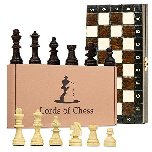 Amazinggirl Schachspiel magnetisch Schach Schachbrett Holz 27 cm - Chess Board Set Reiseschach klappbar mit Schachfiguren