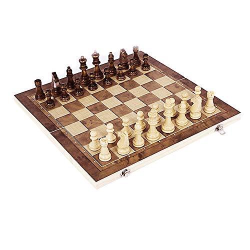 Schachspiel,3 Personen Schach Holz Schachbrett,Einklappbar Deluxe Schach, Schachkassette Faltbar mit (34*34cm)