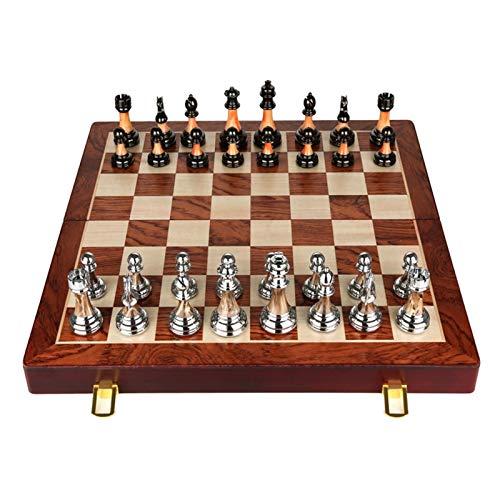 FABAX Schachbrett Massive hölzerne faltende Schach Set mit internen Speicher Metall glänzend Schachfiguren Schachbrett High Grade Schachspiele Geschenk Schach (Größe : 45cm)