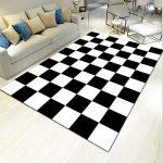 Designer Teppich Wohnzimmer Farbkombination - Karo Tisch Teppich schwarz und weiß Karierte Kombination Moderne minimalistische Nähte Mode Anti-Fading-120 x 160 cm