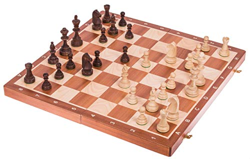Square - Pro Schach Nr 6 Mahagoni - Schachbrett & Staunton 6 - Schachspiel aus Holz